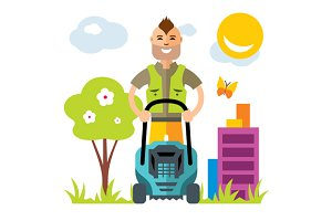 Lawnmower. Man with lawn mower