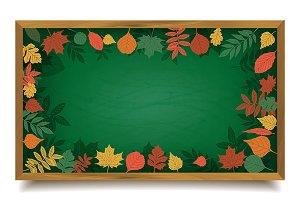 School board in a frame of leaves.