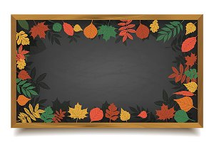 School board in a frame of leaves.