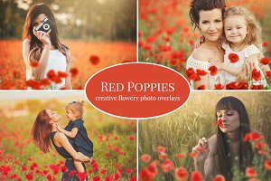 """Red Poppies"" photo overlays set"