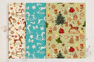 Set of seamless christmas patterns