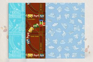 Set of seamless patterns with toys