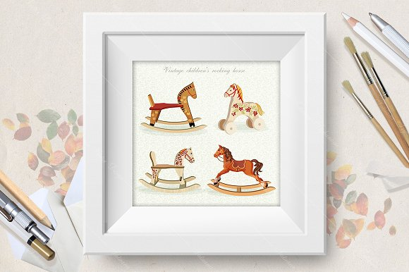 Vector set with rocking horses
