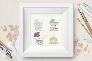 Set of vintage prams