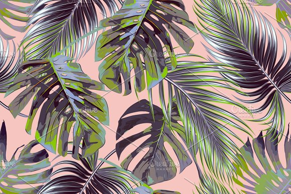 Tropical Palm Leaves Pattern Graphic Patterns Creative Market Custom Tropical Leaves Pattern