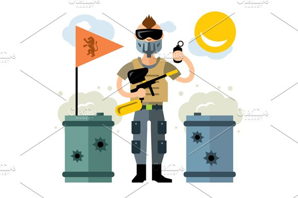 Paintball Player in Illustrations