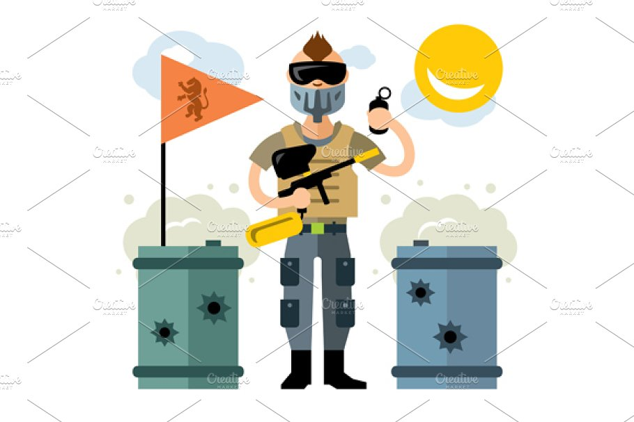 Paintball Player in Illustrations - product preview 8