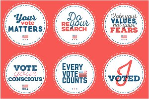 Set of 7 election day badges