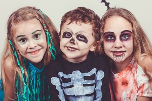 Happy kids on the Halloween party.