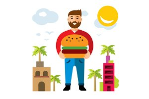 Happy hipster man with hamburger