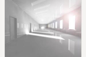 Empty Corridor. 3D rendering