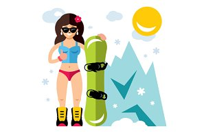 Girl with snowboard. Snowboarding