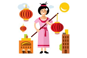 Asian Woman with red lantern