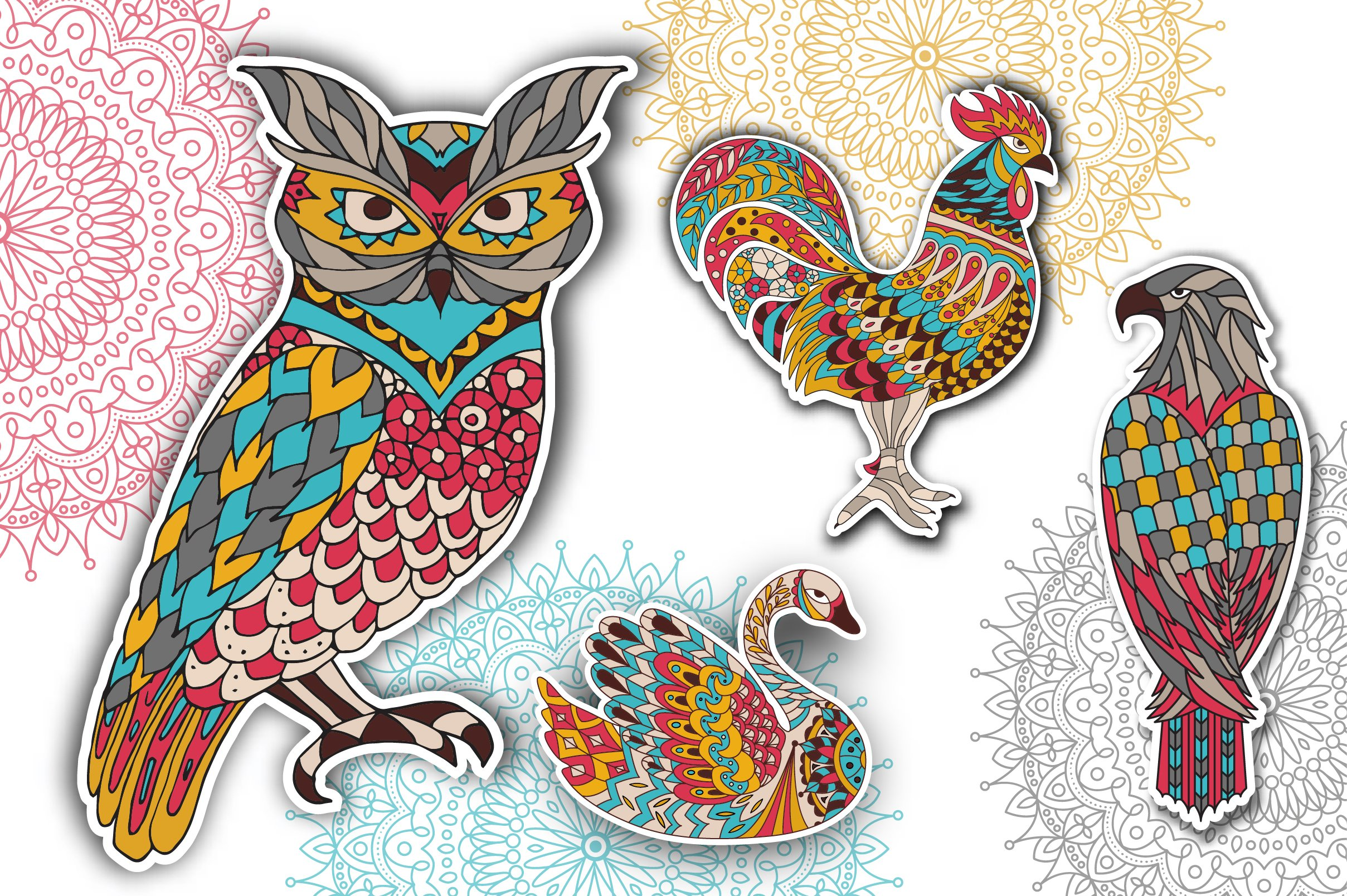coloring pages - birds ~ Illustrations ~ Creative Market
