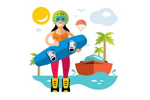 Wakeboarding Woman