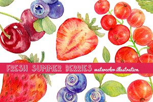Watercolor summer berries