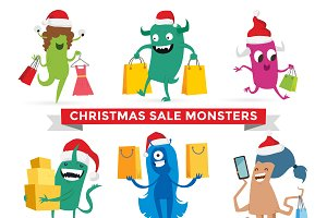 Vector cute monsters Christmas