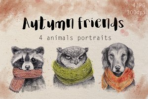 Autumn animals portraits
