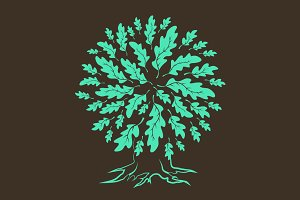 Vector oak tree silhouette