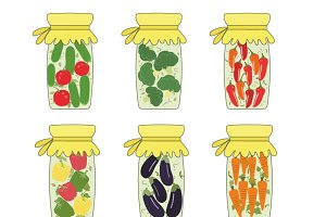 Pickled jars with vegetables