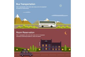 Bus and car with luggage