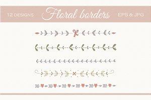 Floral borders set