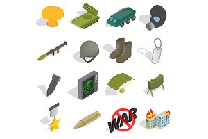 War Icons set, isometric 3d style