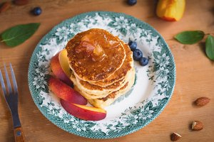Pancakes with peach jam