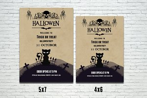 Halloween party flyer template-V385