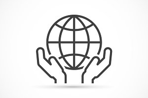 Hands holding globe icon