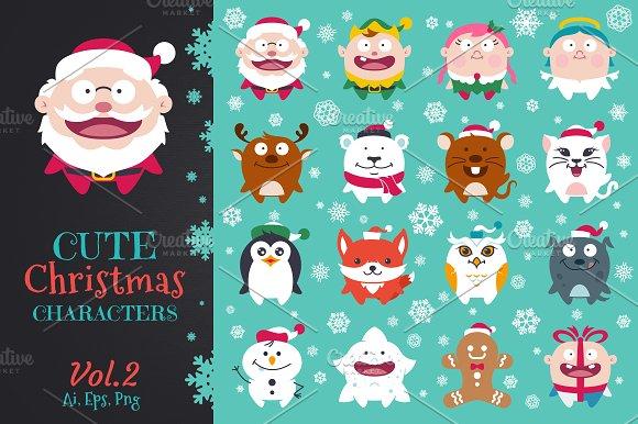 Cute Flat Christmas Characters Vol.2 - Illustrations