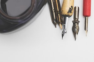 Calligraphy tools background