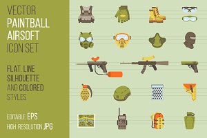 Vector paintball or airsoft icon set