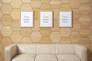Set of 3 wood frames sofa mockup