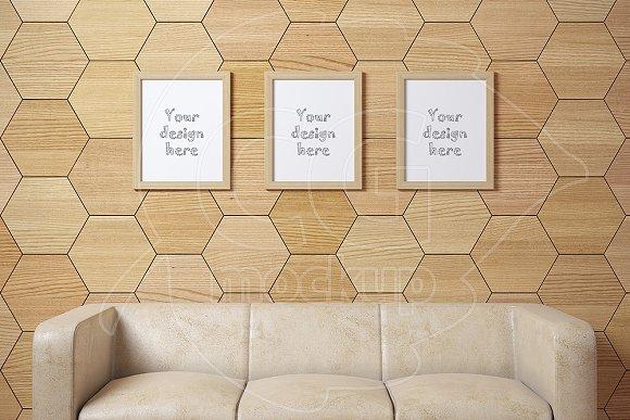 Set of 3 wood frames sofa mockup