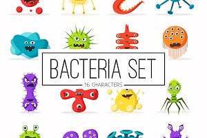 Set of bacteria characters
