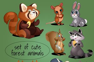 Set of adorable woodland creatures