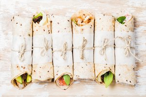 Tortilla wraps with various fillings