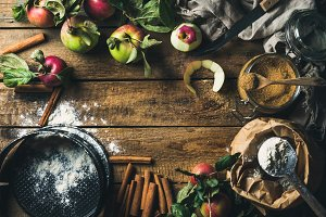 Ingredients for cooking apple pie