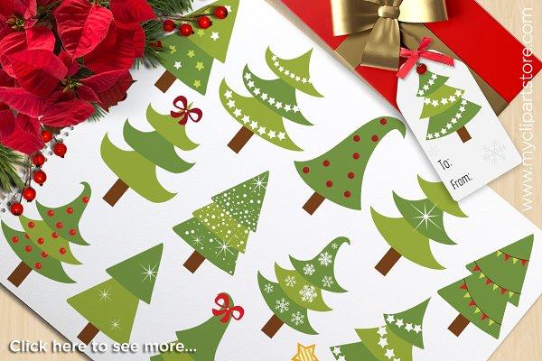 Christmas Trees - Vector Clipart