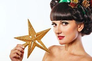 Girl creative hair style Christmas