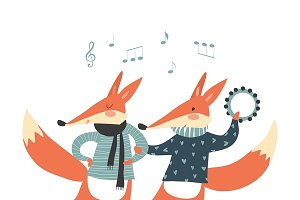 Cheerful dancing foxes