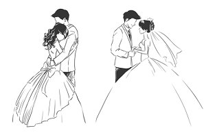 2 pics: Bride and groom