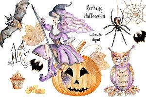 Halloween elements. Watercolor