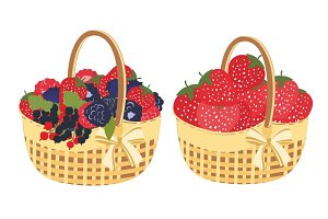 Straw basket with berries
