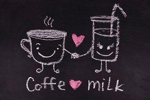 Coffe love milk. Heart. Love. Valentine Day