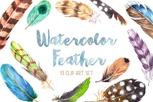 Hobo Feathers Watercolor Clip Art