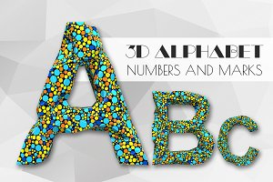 3D Dots alphabet numbers and marks