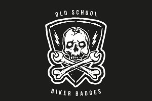 Old School Biker Badges and Elements