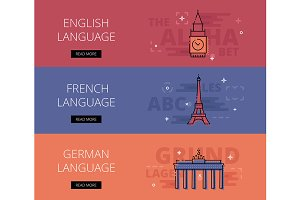 European Languages banner set